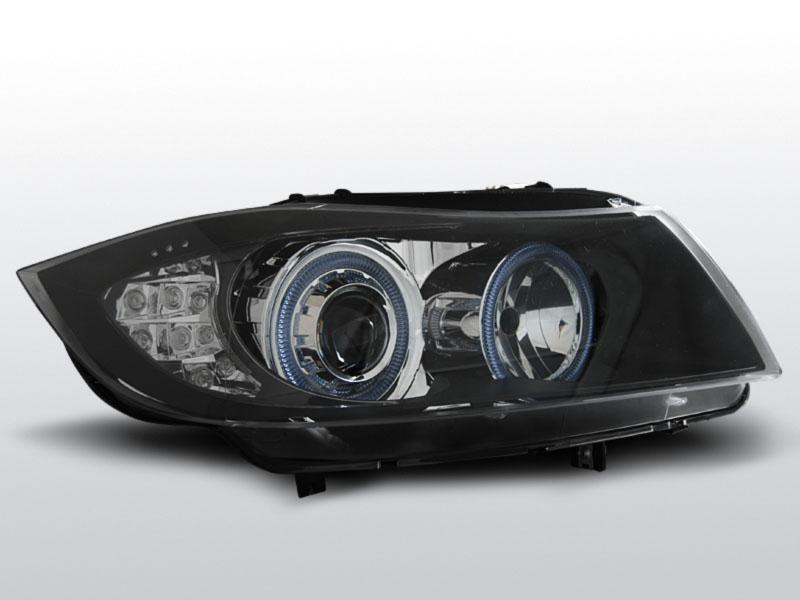 BMW E90/E91 2005.03-2008.08 Fekete Angel Eyes LED Elsõ Lámpa
