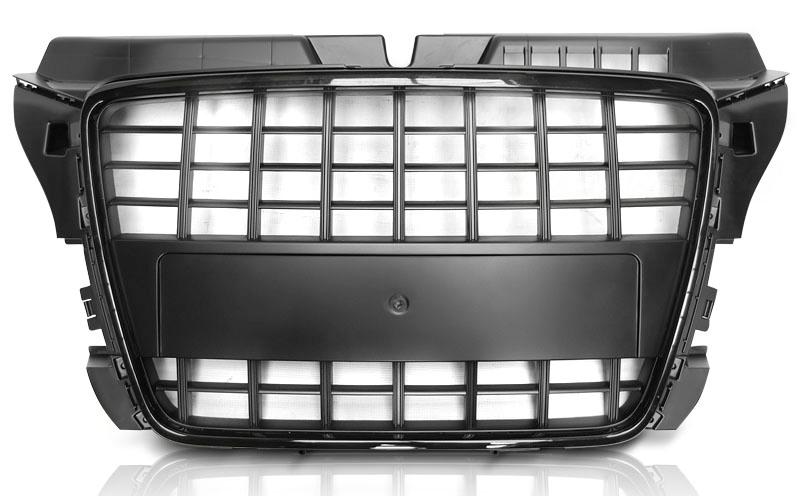 AUDI A3 (8P) 2008-2012 S8 LOOK Fényes Fekete hűtőrács