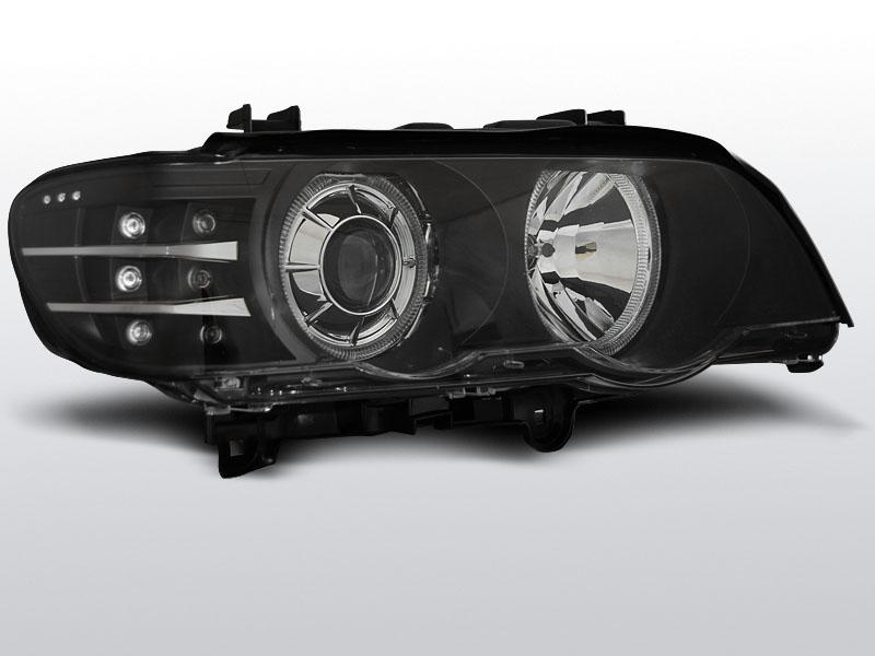 BMW X5 E53 1999.09-2003.10 Fekete ANGEL EYES LED Elsõ Lámpa